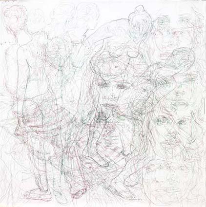 Ácrono I. Tintas y grafito sobre papel. 100x100 cm.