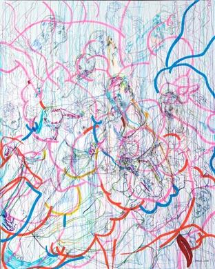 Elogio a lo visible II. Mixta sobre papel. 162x130c m.