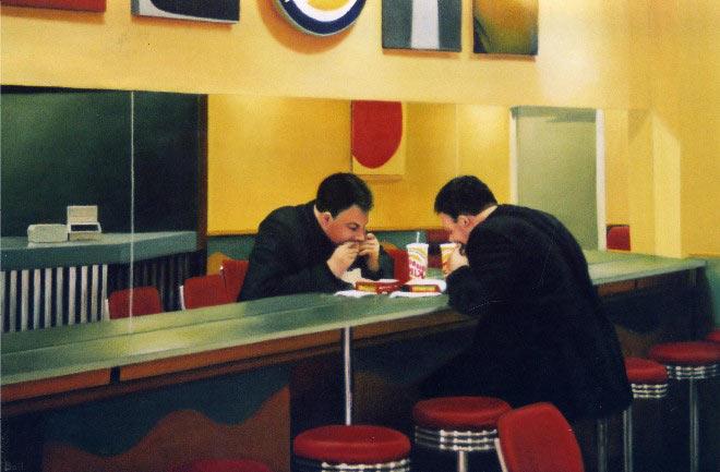 Burger Man, 55x75cms, oil on canvas