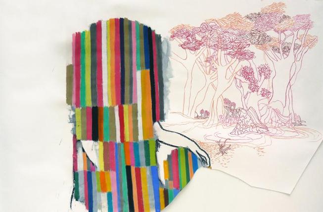 Prodigio Abandonado. 2008. Pastel y gouache sobre papel. 148 x 205 cm.