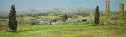 paisaje costa brava, acuarela y óleo sobre madera, 18x48 cm. 2005.
