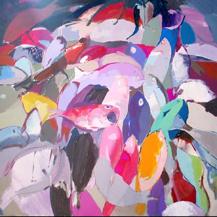 Frutos del mar. acrílico sobre lienzo, 100 x100