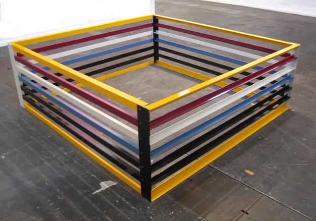 Cube Revision Screen, 2006. Aluminio pulverizado. 200 x 210 x 70 cm.