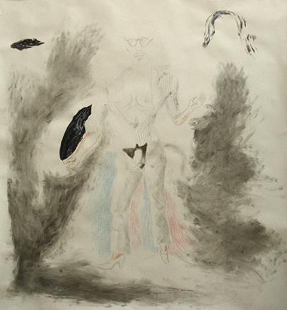 Autoportrait en chat travesti, 2005, color pencil on paper, 150 x 150 cm