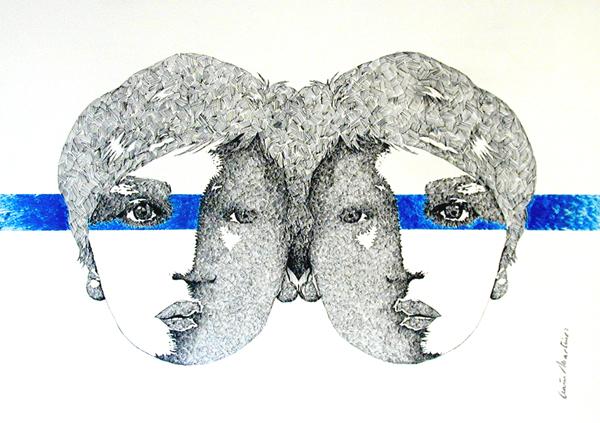 OCAÑAMARTINEZ Cabezas de modelo Tinta y Acrilico sobre papel 50 x 70 cm