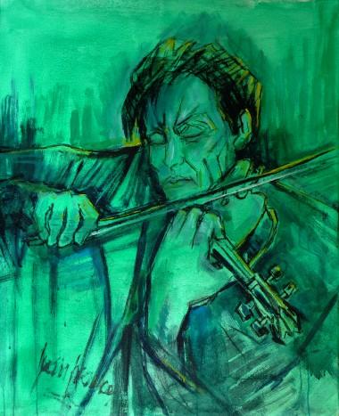 Violinista. Óleo 80x100