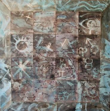 Destí constel.lacions 2009 - 100 x 100 cm. Tècnica mixta
