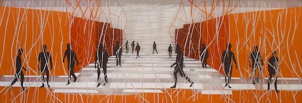 Serie trans-aparences 09  2011 Técnica mixta sobre metacrilato  240  x 80 cm.