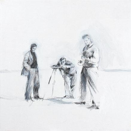 2008, S.T.6, Acrílico y carbón sobre madera, 35x35 cm