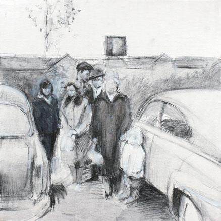 2008, S.T.7, Acrílico y carbón sobre madera, 35x35 cm