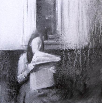 2009, Lecture, Acrílico y carbón sobre madera, 35x35 cm