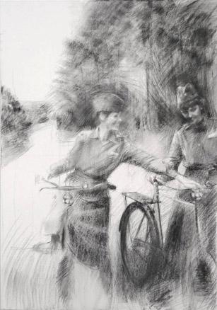 2009, S.T., Acrílico y carbón s tela