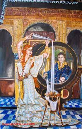 Circe ofreciendo la copa a Ulises-Oleolienzo-Almeriane 2009