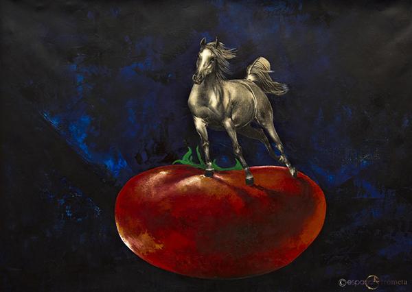 HOMENAJE A SALVADOR DALÍ Carbón, acrílico y óleo sobre lienzo 115 x 165 cm 2011