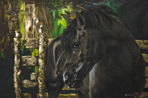 REALMENTE LIBRE PARA IRME Carbón y acrílco sobre lienzo 80 x 115 cm 2011 Signed