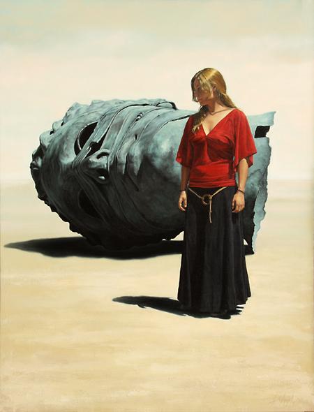 Joven con rostro tumbado,2007, oleo-lienzo