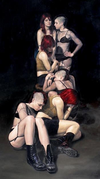 Jovenes sobre fondo oscuro,2007, oleo-lienzo