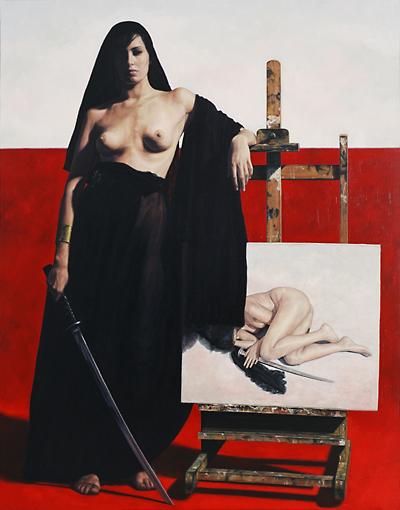 musa con katana,2007, oleo-lienzo