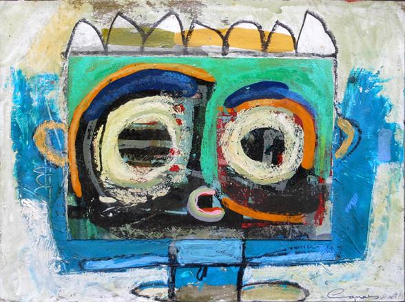 Pintura y collage sobre cartón.