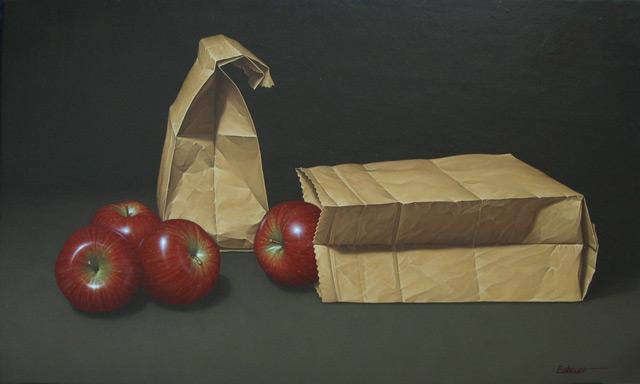 Bosses de paper i pomes - Oleo, lienzo sobre tabla. 33 x 55 cm.