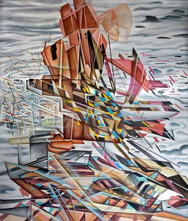 Construcción en el aire - 184x156 cm. - Acríl.s.lienzo - 3.600 Euros