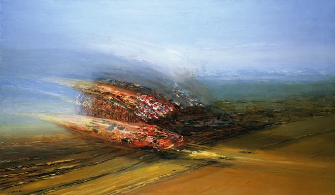 Alucinación de fuerzas,1985. Óleo sobre lienzo 112x192cm. Colección particular