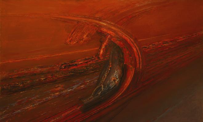 Transbordador de hidro,1991. Óleo sobre lienzo 147x235 cm. Colección particular