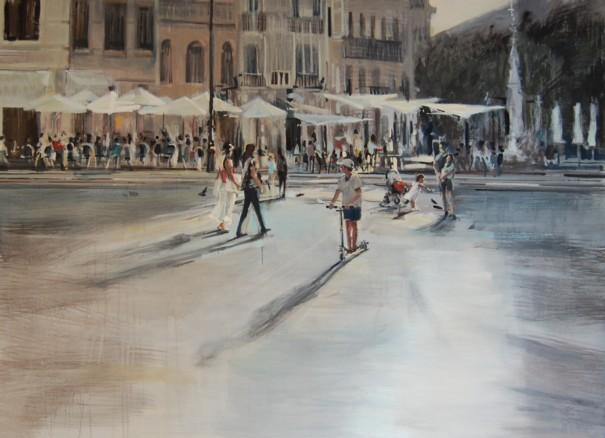 2048 ... en la plaza Técnica mixta sobre tabla. 110 x 150 cm