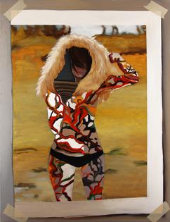 Nuria Rodríguez. Bouvard y Pecuchet I, 2009. Óleo sobre lienzo 182 x 140 cm.