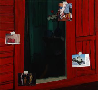 Nuria Rodríguez. Maupasant y el otro, 2008. Óleo sobre lienzo. 140 x 150 cm.