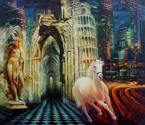 Caballo blanco, 116x100cm, óleo sobre lienzo