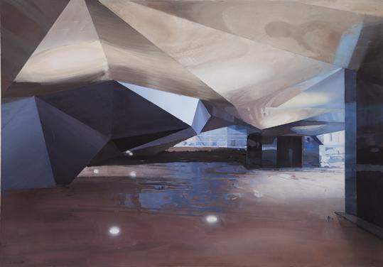 Bajo techo II F La  Caixa Mixta s  papel tabla  70 x 100.cm