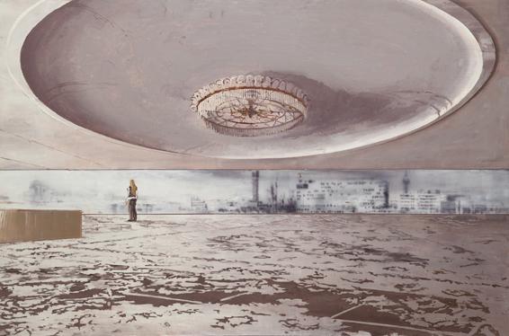 La joven y el horizonte  Óleo s papel tabla  86,5 x 130 cm