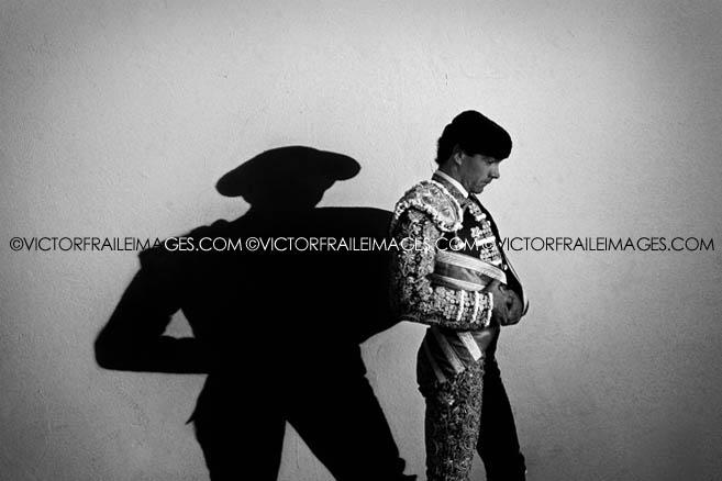 Spains matador Manuel Jesus El Cid waits to enter to the bullring before the