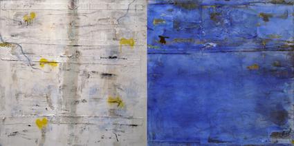 Paisaje 2 Díptico, 2009 Mixta  tela 150 x 300 cms.