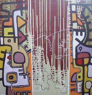 Cascadas Dobles-Acrilicotela-50 cm x 60 cm