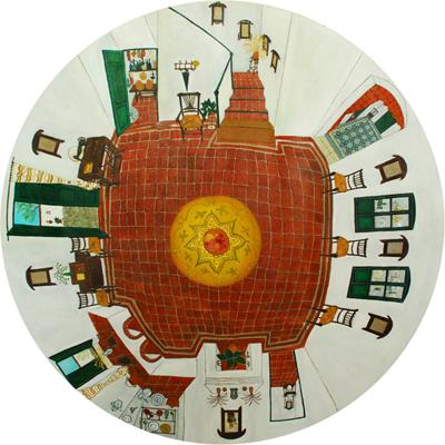 La Cocina de Federico. Oleo sobre tela. 2010 150cm de diametro