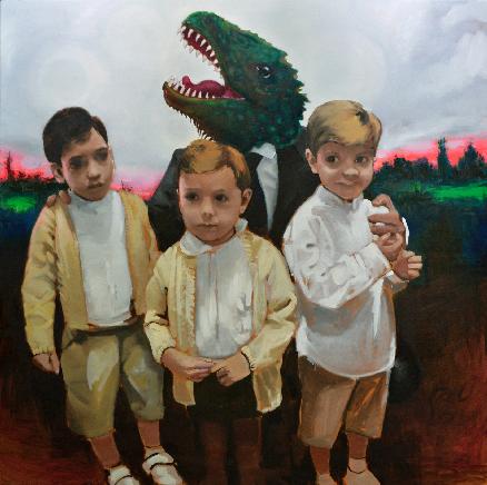 Abrazo paternal de dinosaurio