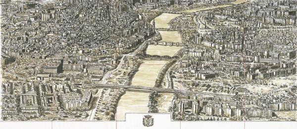 Boceto del grabado de La gran vista, Zaragoza