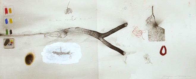 Todos dejaron huella en su camino. 45,5x102 cm. Mixta sobre papel. 2008.