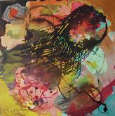 obra reciente, t/mixta sobre lienzo.100 x 100 cms