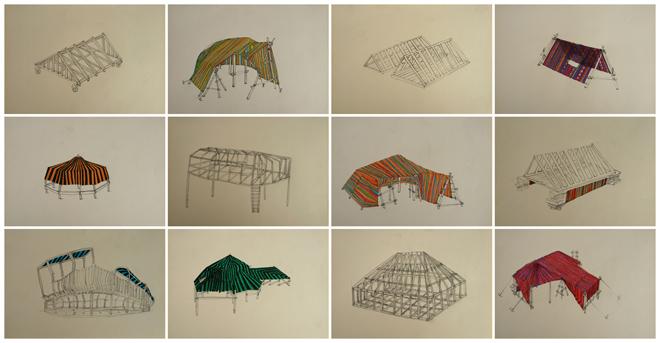 Núcleos temporales, dibujo sobre papel.2011