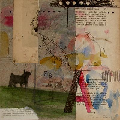 Daniel Bilbao. La corná. Collage. 20x20. 2008
