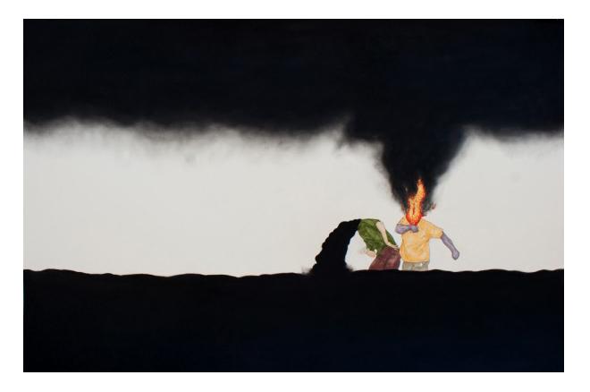 Fúria II, 2012,  carbón y marcador grasopapel, 100 x 70 cm.