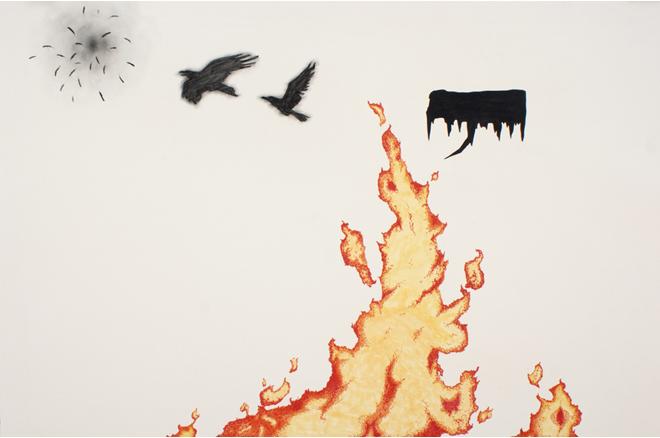Fúria IV, 2012, carbón y marcador grasopapel, 100 x 70 cm.