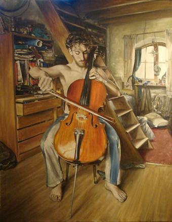 Tomás Fiszman ensayando 70 x  90 cm