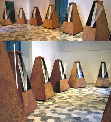 Absurd Harmony of Being. Kinetic-sound Wooden Installationn