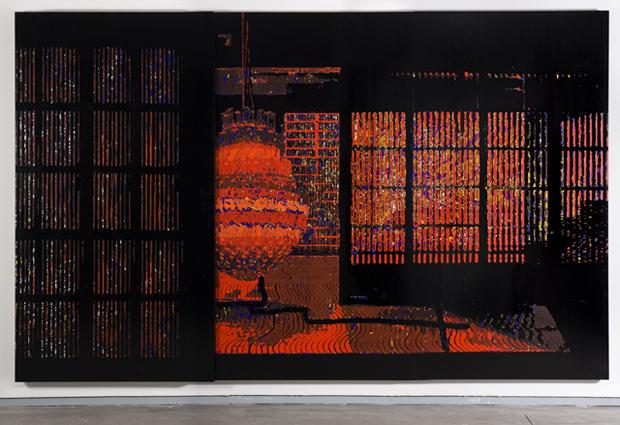 De la serie Take off your shoes, acrílico sobre tabla, 200 x 324 cm.