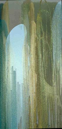 Primula Auricula, 2003. Técnica mixta sobre lienzo. 240 x 120 cm.