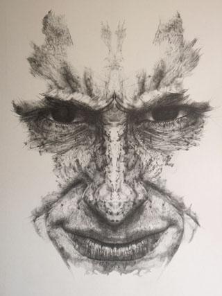 autoretrato rorschach, Grafito, 100x 60 cm